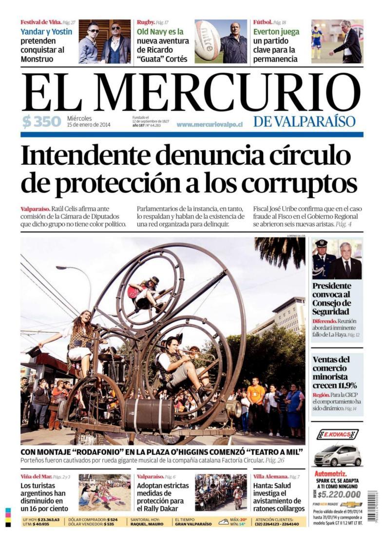 2014-01-15 EL MERCURIO DE VALPARAISO (PORTADA)